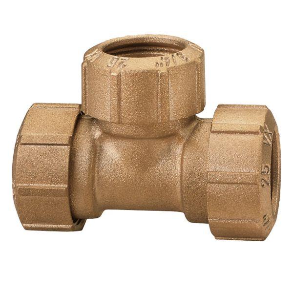 Messing-Kupplung T-Stück 3/4 Zoll, 25 x 2,3 mm, Verbindungskupplung für PE-Rohre