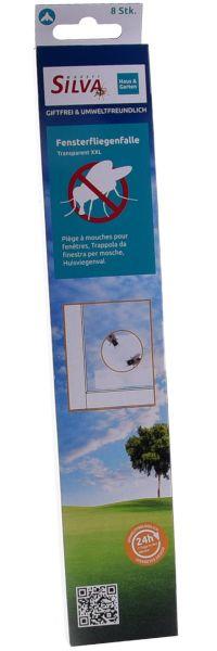 SILVA® 8x Fenster-Fliegenfalle Transparent XXL, 30cm, transparente Klebefalle für Fenster