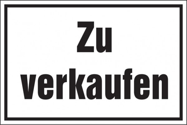 Hinweisschild: Zu verkaufen, weiß, 250x150mm, Verkaufsschild, Zu-Verkaufen-Schild