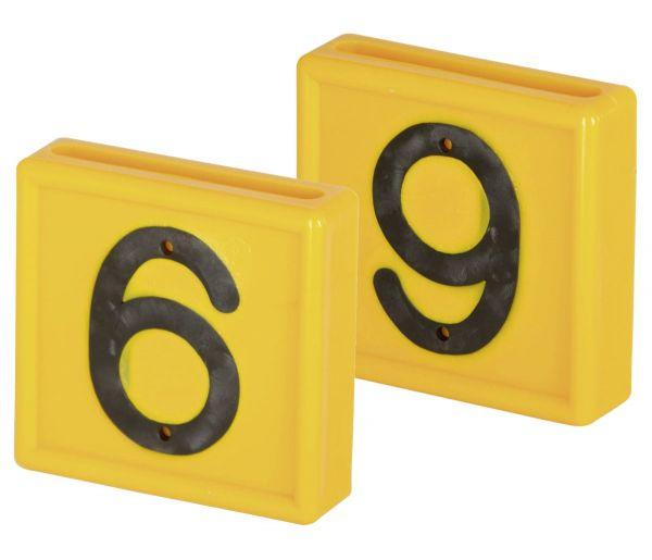 Nummernblock Standard, gelb, Block-Nummer: 6 (SECHS) bzw. 9 (NEUN)
