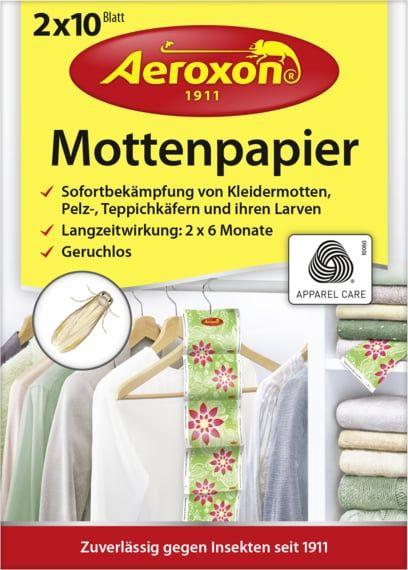 Aeroxon® 20x Mottenpapier (2x10 Blatt) zur Bekämpfung von Kleidermotten, Pelz- und Teppichkäfern