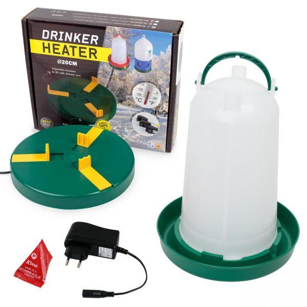 SET: Tränkewärmer Ø20cm + Geflügeltränke 3 Liter mit Bajonettverschluss + Vitaminkissen 20ml