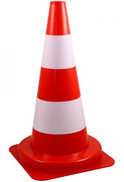 Leitkegel 50cm, weiß-rot, tagesleuchtend, Warnkegel zur Gefahrenkennzeichnung, Baustellenabsicherung