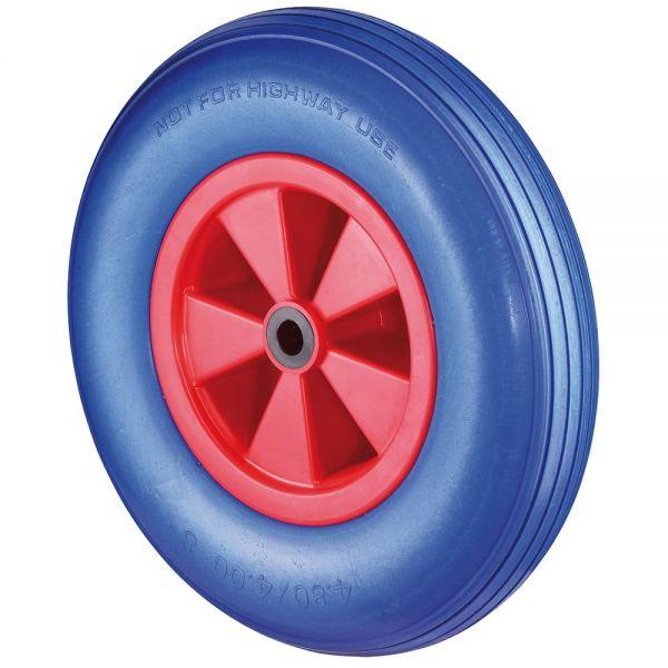 PU Schubkarrenrad FORT Ø400mm (4.80/4.00-8) blau, Nabe Ø20mm, Kunststofffelge