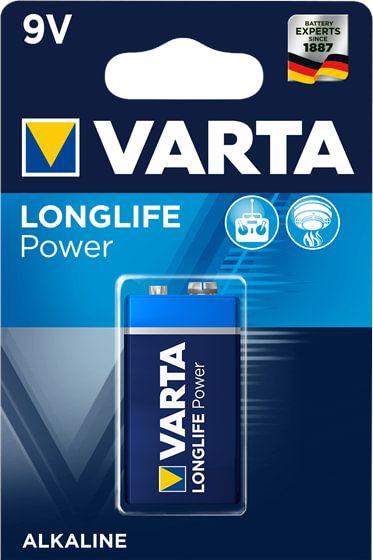 1x VARTA Batterie Longlife Power 9V, E-Block, 6LP3146, 4922, 9 Volt, für Fernbedienung, Rauchmelder