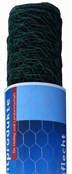 hadra® 25m Sechseckgeflecht 25 x 1000 mm, verzinkt, grün ummantelt, Geflechtzaun, 6-eck Geflecht