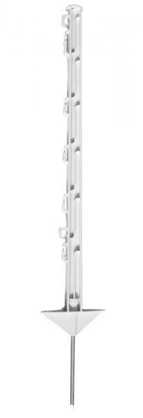 Kunststoffpfahl 75cm, 1 Spitze, weiß, 7 Ösen, glasfaserverstärkter Weidezaunpfahl mit Doppeltritt