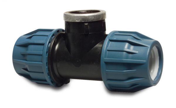 PP T-Stück 90° Grad, mit Innengewinde, 32x1 1/4x32mm, PP-Kupplung