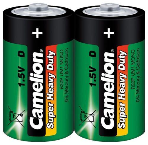 2x Camelion Batterie Super Heavy Duty, Mono, D/R20 (1,5V) für Taschenlampen, Handscheinwerfer