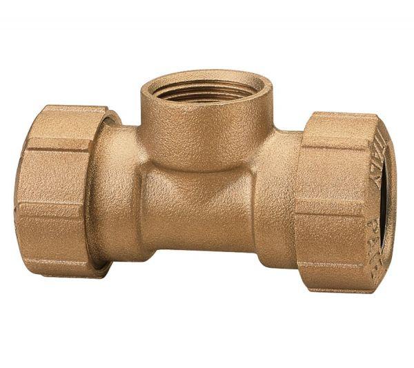 Messing-Kupplung T-Stück 1/2 Zoll IG, 20 x 2 mm, Verbindungskupplung für PE-Rohre