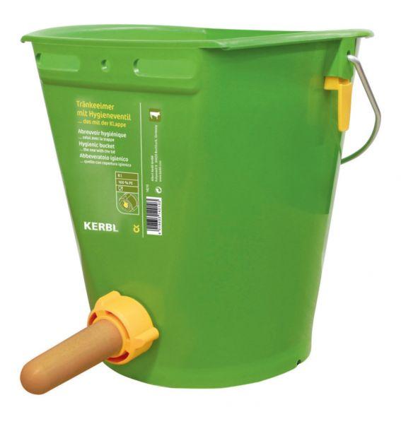 Kerbl Hygienetränkeeimer 8 Liter, grün, Tränkeeimer für Kälber mit Sauger und Hygieneventil