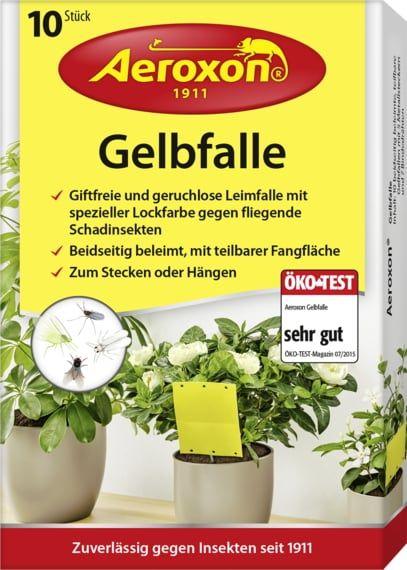 Aeroxon® 10x Gelbfalle, Leimfalle mit Lockstoff zum Schutz von Pflanzen vor Schadinsekten