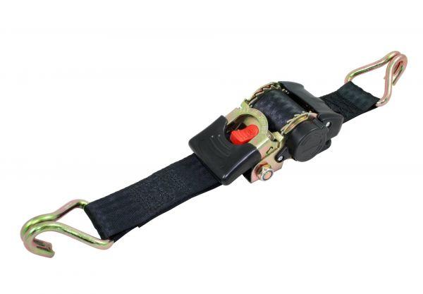Automatik-Zurrgurt 3m x 25mm, automatischer Spannngurt zur Ladungssicherung mit Spitzhaken