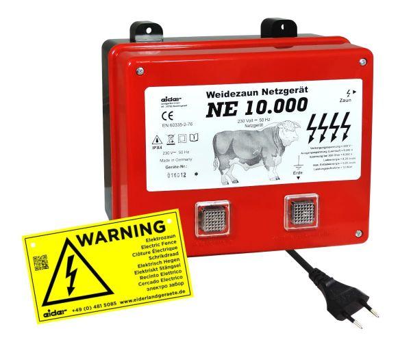 Eider Weidezaungerät NE 10000, 230 Volt Power-Netzgerät für sehr lange Zaunanlagen mit starkem Bewuc