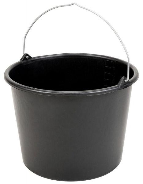 GRIPLINE® Baueimer 12 Liter, schwarz, Mörteleimer, Maurereimer, bruchsicher und formstabil