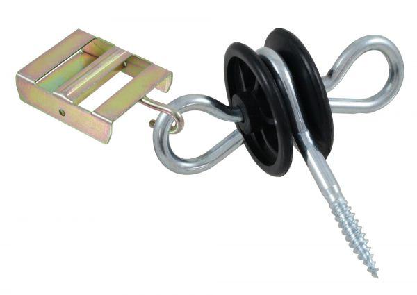 Torgriffisolator mit Ösen und Bandanschluss, 6mm Stütze, mit Holzgewinde zur Montage an Holzpfählen