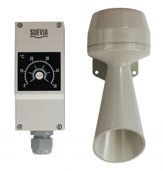 Suevia Warnanlage Mod. 308 für Ringleitungen, Thermostat und Hupe für Heizgeräte - 101.0308