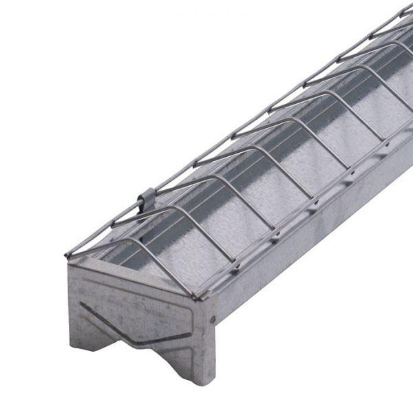 Kükenfuttertrog 30cm, verzinkt, linear, Futtertrog für Küken, mit abklappbarem Fressgitter
