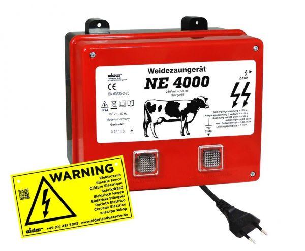 Eider Weidezaungerät NE 4000, 230 Volt Netzgerät für mittlere Zaunanlagen mit mittlerem Bewuchs