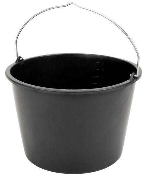 GRIPLINE® Baueimer 20 Liter, schwarz, Mörteleimer, Maurereimer, bruchsicher und formstabil