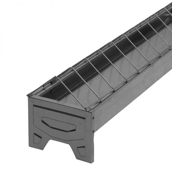 Junghennenfuttertrog 75cm, verzinkt, linear, Futtertrog für Junghennen, mit abklappbarem Fressgitter
