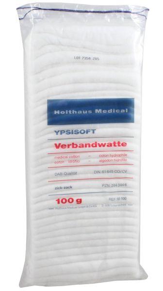 YPSISOFT Verbandwatte 100g, 50% Baumwolle und 50% Zellstoff