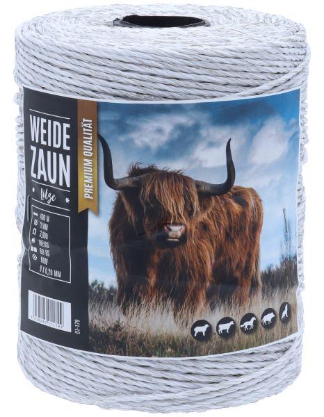 Weidezaunlitze HERKULES 400m, 9 x 0,20 Niro-Leiter, weiß, für mittlere bis lange Einzäunungen