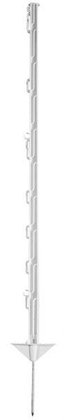 Kunststoffpfahl 105cm, 1 Spitze, weiß, 10 Ösen, glasfaserverstärkter Weidezaunpfahl mit Doppeltritt
