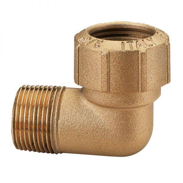 Messing-Winkelverschraubung 90° 1 1/4 Zoll AG, 40 x 3,6 mm, Klemmverbinder für PE-Rohre