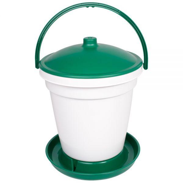 Automatische Geflügeltränke 18 Liter, bodenstehender Geflügel-Tränkeeimer mit Deckel und Tragegriff
