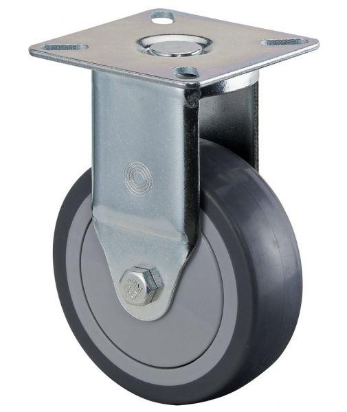 Bockrolle Ø50mm, Gummi grau, 50kg, Apparaterolle aus Kunststoff, mit Kugellager