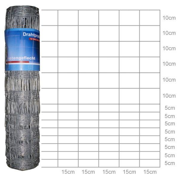 hadra® 50m Wildzaun Typ 100/15/15, dickverzinkt, 100cm, Schafzaun, Schafdraht, Knotengeflecht