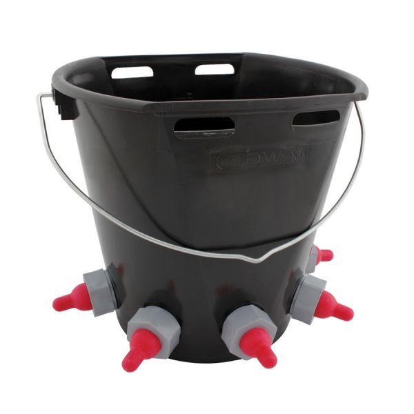 GEWA Lämmereimer 8 Liter, mit 5 Saugstellen, Tränkeeimer für Lämmer