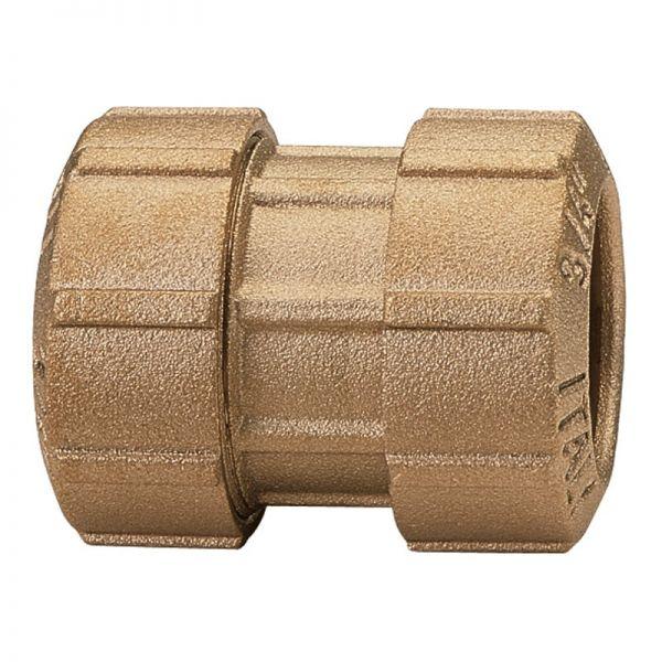 Messing-Kupplung gerade 1/2 Zoll, 20 x 2 mm, Verbindungskupplung, Klemmverbinder für PE-Rohre
