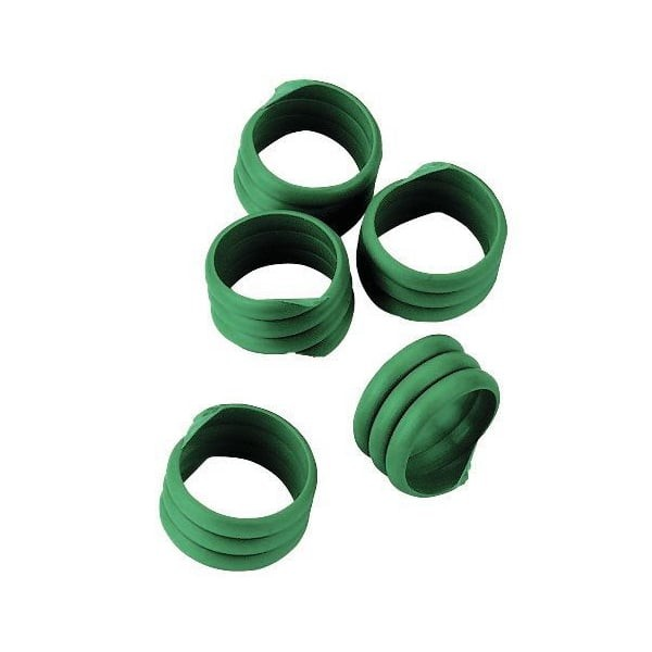 20x Spiralringe Ø 16mm, Grün, Fußringe, Markierungsringe für Hühner und Puten