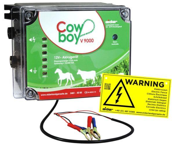 Eider Weidezaungerät Cowboy V 9000, 12 Volt Batteriegerät für mittlere bis lange Zäune mit Bewuchs