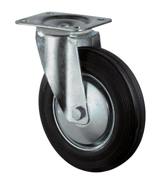 Lenkrolle Ø80mm, Gummi schwarz, 50 kg, Transportrolle mit Stahlfelge und Rollenlager
