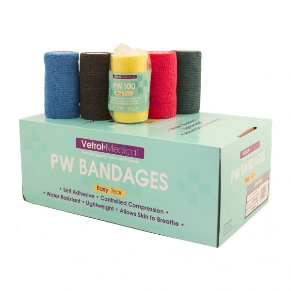 Vetrol Medical PW100 Bandagen 10cm x 4,5m, selbsthaftender Verband, Fixierbinde, farblich sortiert