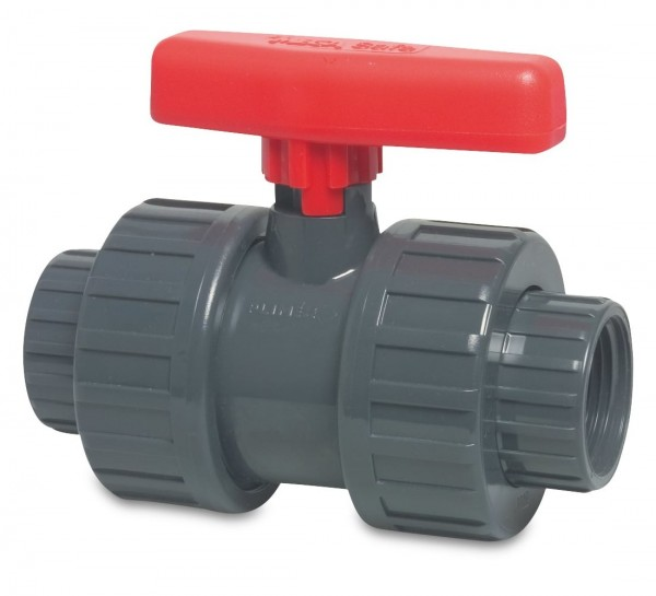 Mega PVC Kugelhahn Typ Safe 625, 1/2 Zoll, beidseitig Innengewinde, Arbeitsdruck 10bar