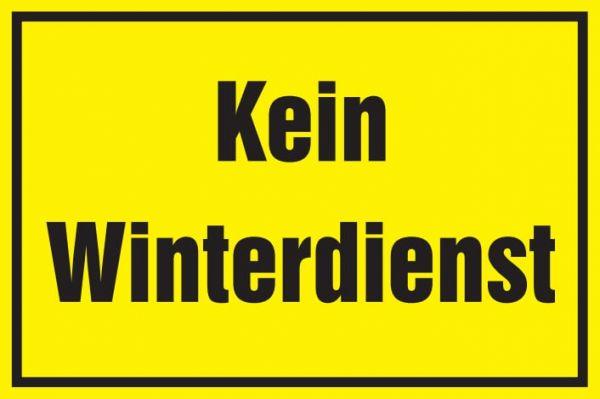 Warnschild: Kein Winterdienst, gelb, 250x150mm, Hinweisschild