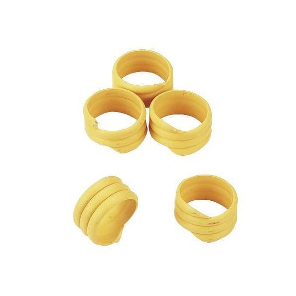 20x Spiralringe Ø 16mm, Gelb, Fußringe, Markierungsringe für Hühner und Puten