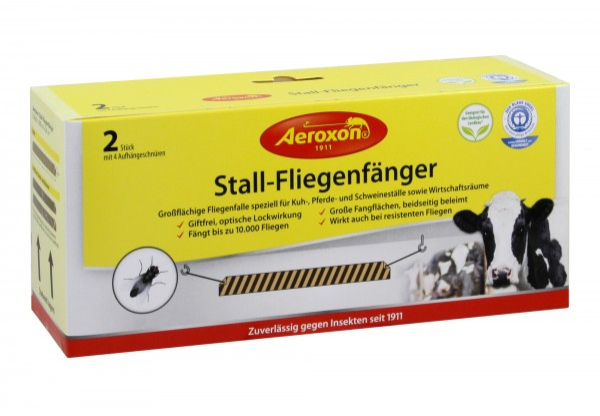 Aeroxon® 2x Stallfliegenfänger 200x20cm, Fliegenfänger zur Fliegenbekämpfung im Stall
