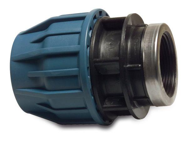 PP Klemmkupplung, mit Innengewinde, 1/2 Zoll x 25mm, reduziert, PP-Kupplung