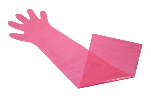 100x PE-Einweghandschuhe 90cm, Rot, extra lange Veterinärhandschuhe
