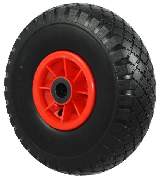 PU Sackkarrenrad Ø260mm (3.00-4), schwarz, Kunststofffelge, Nabe Ø20mm, pannensicheres Rad