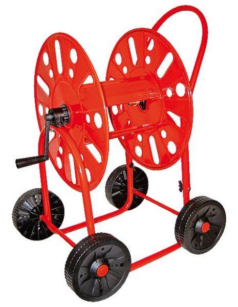 Schlauchwagen Mod. 411, Metall, 4 Räder, mit Handkurbel, für 90m 3/4 Zoll Schlauch