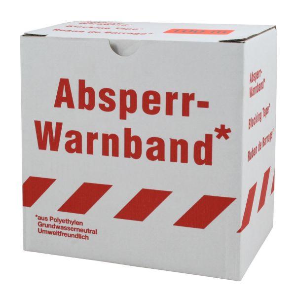 Absperrband 100m, weiß-rot, Warnband, Flatterband in Spenderbox