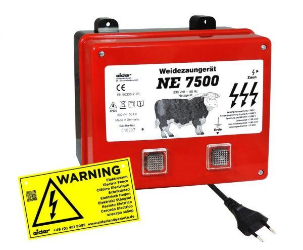 Eider Weidezaungerät NE 7500, 230 Volt Netzgerät für lange Zaunanlagen mit starkem Bewuchs