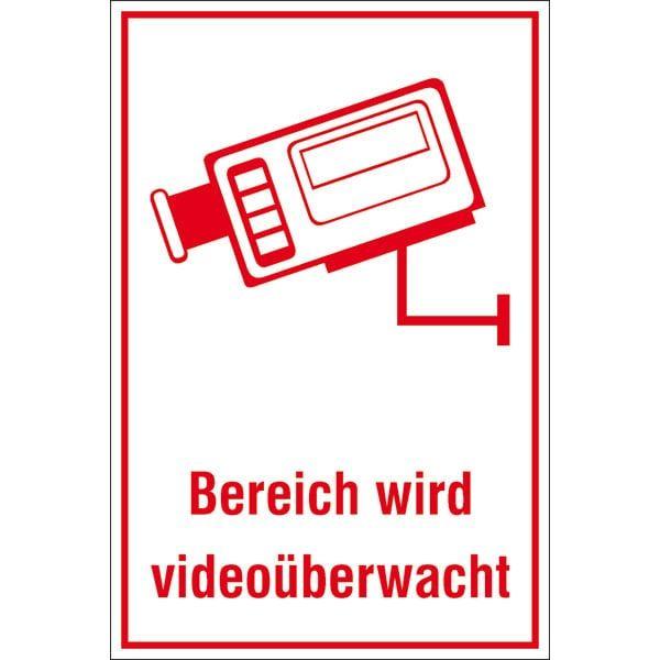Hinweisschild: Bereich wird videoüberwacht, Metall, weiß, 200x300mm, Video-Infozeichen