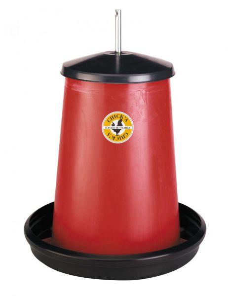Geflügel-Futterautomat 18-20 Liter, Kunststoff, hängender Futterautomat mit Deckel, für Hühner